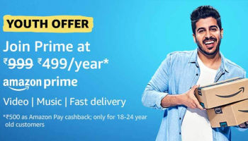 Amazon Prime Membership @499 Per Year Youth Offer